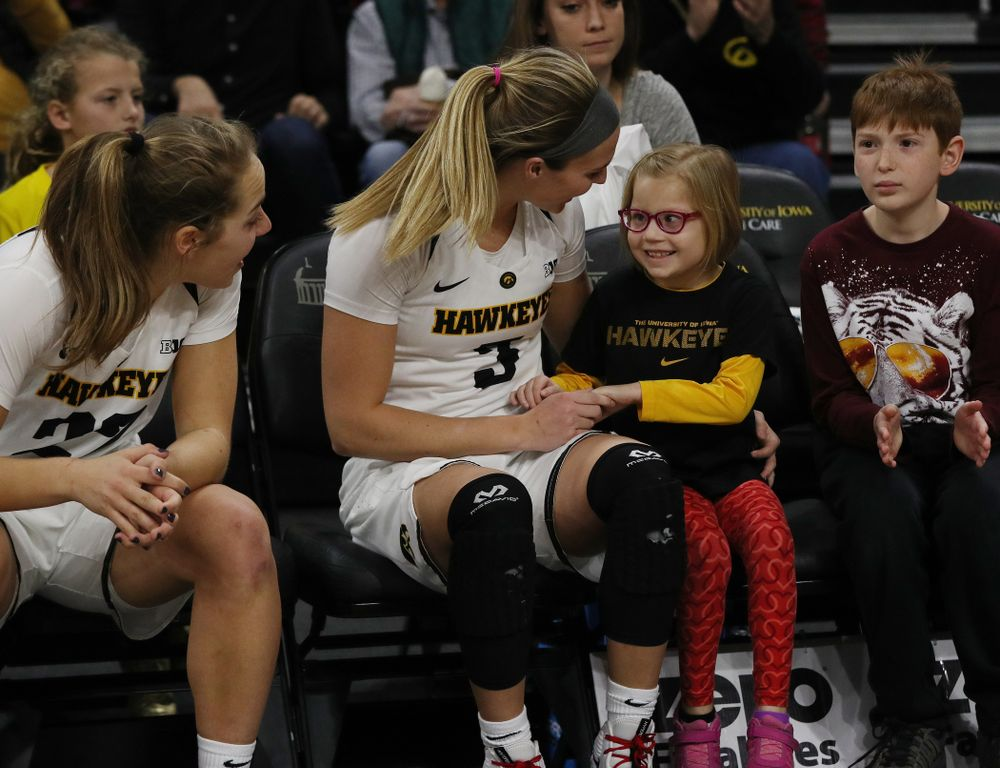 Iowa Hawkeyes guard Makenzie Meyer (3) and guard Kathleen Doyle (22) against the Purdue Boilermakers Sunday, January 27, 2019 at Carver-Hawkeye Arena. (Brian Ray/hawkeyesports.com)