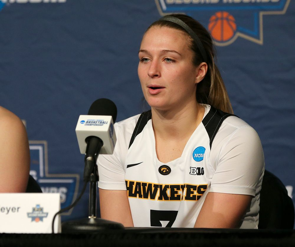 Iowa Hawkeyes guard Makenzie Meyer (3) talks during their press availability after winning their game in the first round of the 2019 NCAA Women's Basketball Tournament at Carver Hawkeye Arena in Iowa City on Friday, Mar. 22, 2019. (Stephen Mally for hawkeyesports.com)