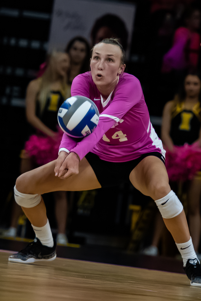 Iowa Hawkeyes outside hitter Cali Hoye (14) against the Wisconsin Badgers Saturday, October 6, 2018 at Carver-Hawkeye Arena. (Clem Messerli/Iowa Sports Pictures)