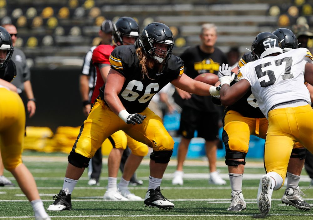 Iowa Hawkeyes offensive lineman Levi Paulsen (66) during Kids Day Saturday, August 11, 2018 at Kinnick Stadium. (Brian Ray/hawkeyesports.com)