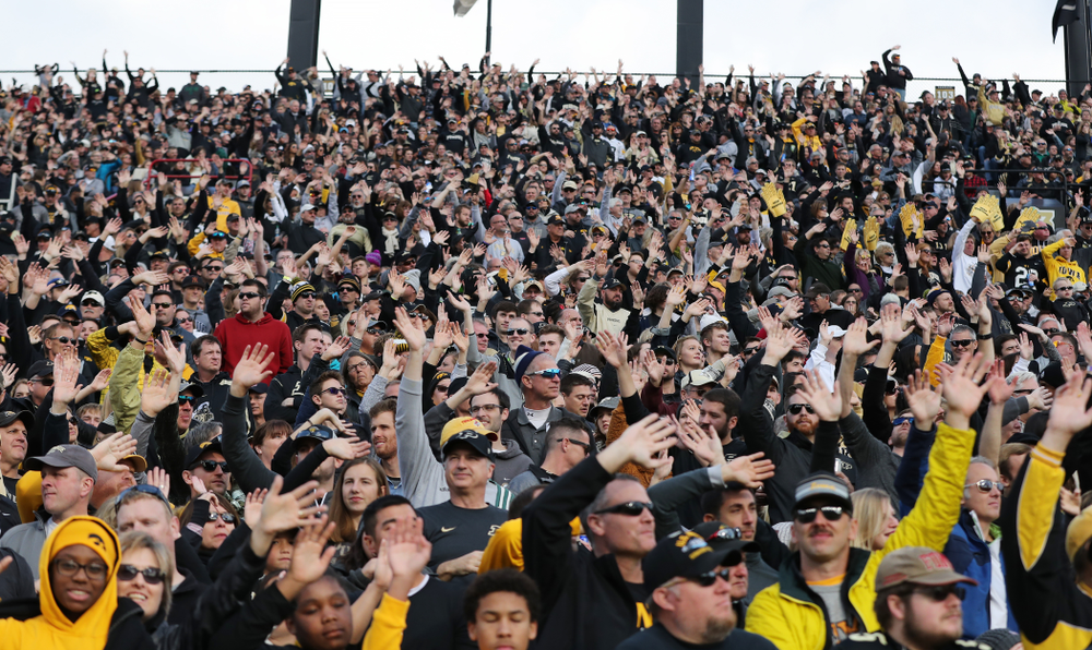 Fans participate in the wave during the Iowa Hawkeyes game against the Purdue Boilermakers Saturday, November 3, 2018 Ross Ade Stadium in West Lafayette, Ind. (Brian Ray/hawkeyesports.com)
