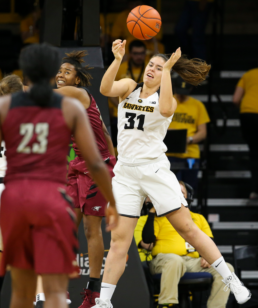 Iowa Hawkeyes forward Paula Valino Ramos (31) fights for a rebound during a game against North Carolina Central at Carver-Hawkeye Arena on November 17, 2018. (Tork Mason/hawkeyesports.com)