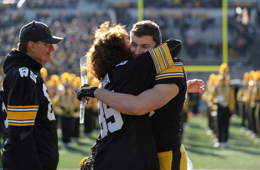 Iowa Hawkeyes long snapper Nate Vejvoda (85) during Senior Day festivities before their game against the Illinois Fighting Illini Saturday, November 23, 2019 at Kinnick Stadium. (Brian Ray/hawkeyesports.com)