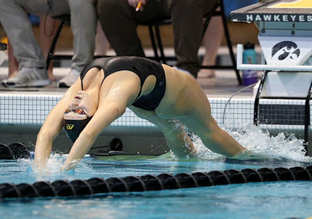Iowa's Julia Koluch swims the backstroke section of the women's 200-yard medley relay event during their meet against Michigan State and Northern Iowa at the Campus Recreation and Wellness Center in Iowa City on Friday, Oct 4, 2019. (Stephen Mally/hawkeyesports.com)