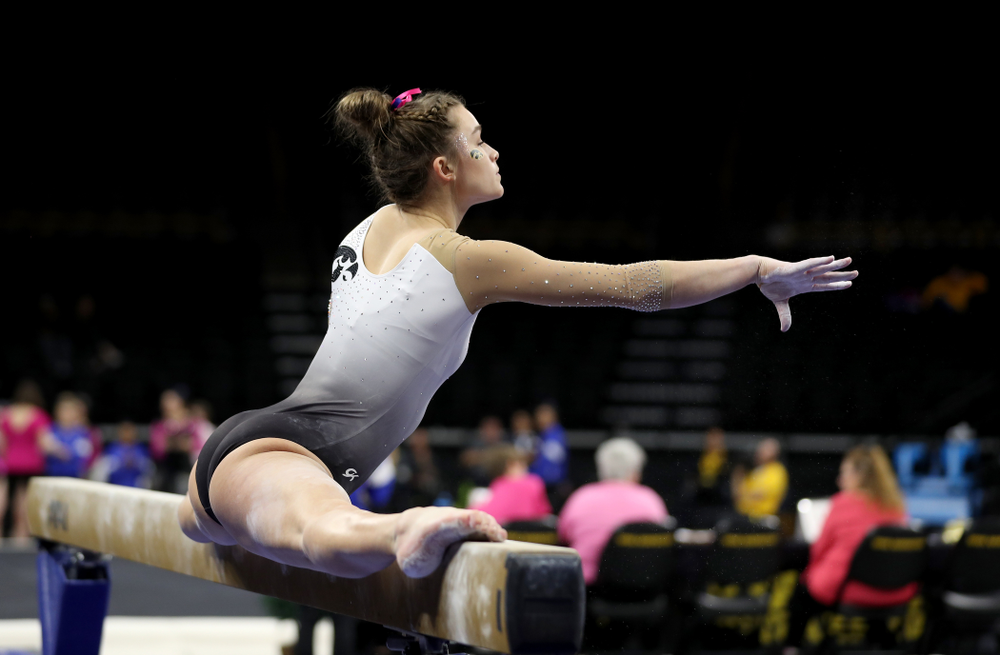 IowaÕs Mackenzie Vance competes on the beam against Ball State and Air Force Saturday, January 11, 2020 at Carver-Hawkeye Arena. (Brian Ray/hawkeyesports.com)