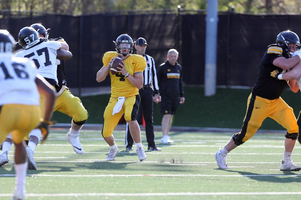 Iowa Hawkeyes quarterback Nate Stanley (4) during the teamÕs final spring practice Friday, April 26, 2019 at the Kenyon Football Practice Facility. (Brian Ray/hawkeyesports.com)