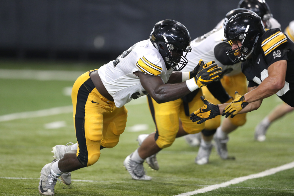 Iowa Hawkeyes linebacker Amani Jones (52) during Fall Camp Practice No. 6 Thursday, August 8, 2019 at the Ronald D. and Margaret L. Kenyon Football Practice Facility. (Brian Ray/hawkeyesports.com)