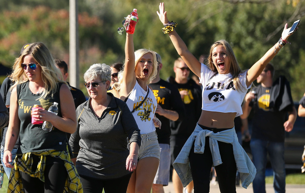 Fans make their way to Kinnick Stadium before a game against Wisconsin on September 22, 2018.