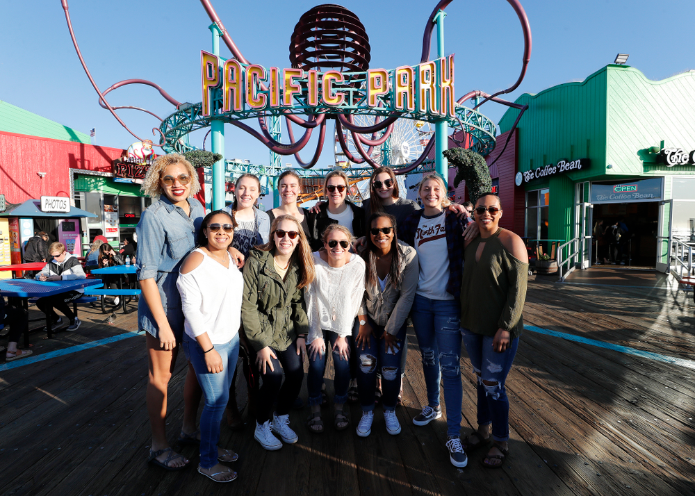 The Iowa Hawkeyes in Pacific Park on the Santa Monica Pier Thursday, March 15, 2018 in Santa Monica. (Brian Ray/hawkeyesports.com)