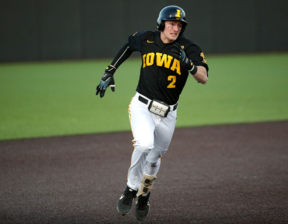 Iowa infielder Brendan Sher (2) runs to third during the fifth inning of their game at Duane Banks Field in Iowa City on Tuesday, March 3, 2020. (Stephen Mally/hawkeyesports.com)