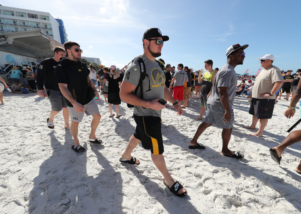 Iowa Hawkeyes offensive lineman Ross Reynolds (59) during the Outback Bowl Beach Day Sunday, December 30, 2018 at Clearwater Beach. (Brian Ray/hawkeyesports.com)