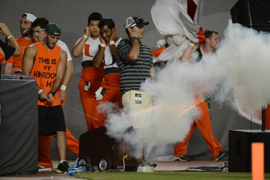 Sigma Chi Fraternity will fire off the cannon, Touchdown Tommy T.T. each time after the Hurricanes score during todays game against the Georgia Tech...