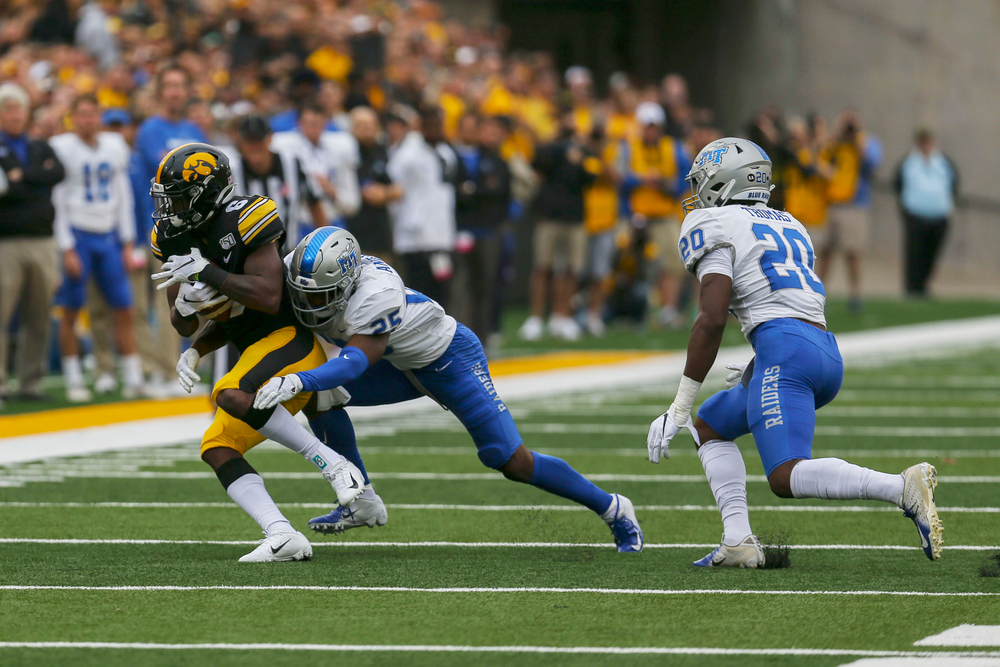 Iowa Hawkeyes wide receiver Ihmir Smith-Marsette (6) against Middle Tennessee Saturday, September 28, 2019 at Kinnick Stadium. (Lily Smith/hawkeyesports.com)