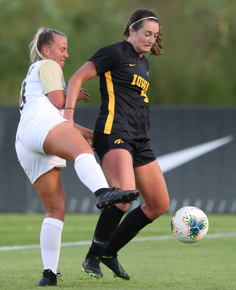 Iowa Hawkeyes forward Kaleigh Haus (4) against Western Michigan Thursday, August 22, 2019 at the Iowa Soccer Complex. (Brian Ray/hawkeyesports.com)
