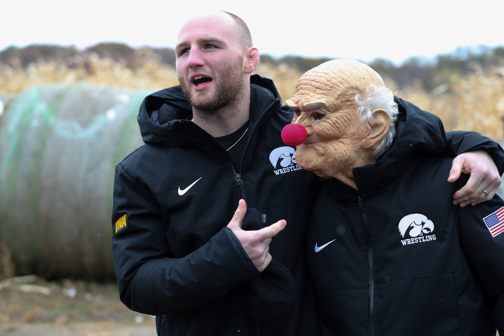 All American Alex Marinelli messes around with teammate Gavin Teasdale during the teamÕs annual media day Wednesday, October 30, 2019 at Kroul Family Farms in Mount Vernon. (Brian Ray/hawkeyesports.com)