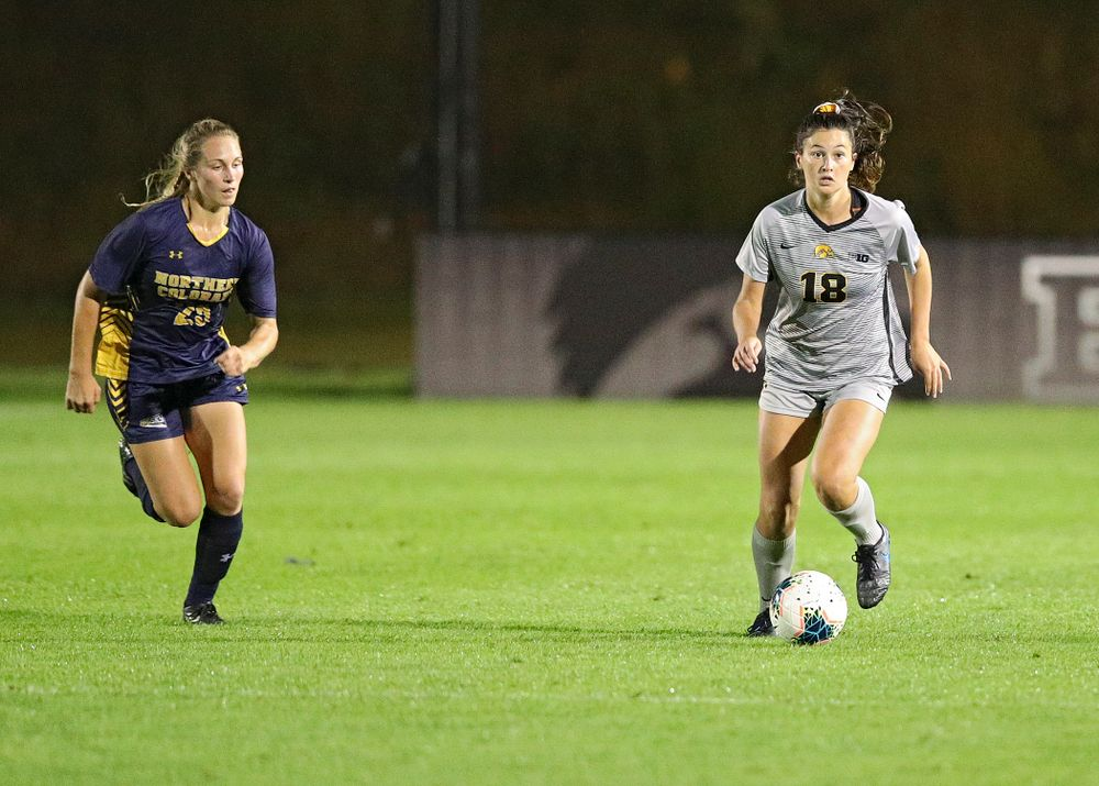 Iowa defender Diane Senkowski (18) looks to pass during the second half of their match at the Iowa Soccer Complex in Iowa City on Friday, Sep 13, 2019. (Stephen Mally/hawkeyesports.com)