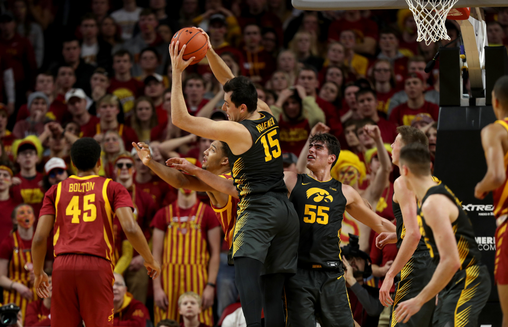 Iowa Hawkeyes forward Ryan Kriener (15) against the Iowa State Cyclones Thursday, December 12, 2019 at Hilton Coliseum in Ames, Iowa(Brian Ray/hawkeyesports.com)