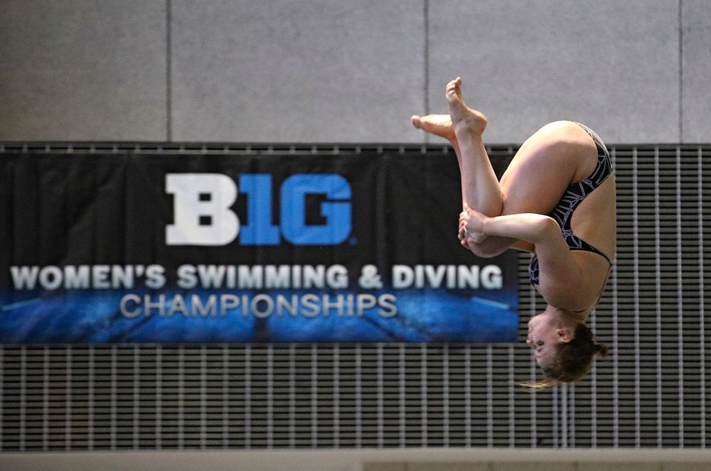 Iowa's Claire Park competes in the women's 3 meter diving preliminary event during the 2020 Women's Big Ten Swimming and Diving Championships at the Campus Recreation and Wellness Center in Iowa City on Friday, February 21, 2020. (Stephen Mally/hawkeyesports.com)