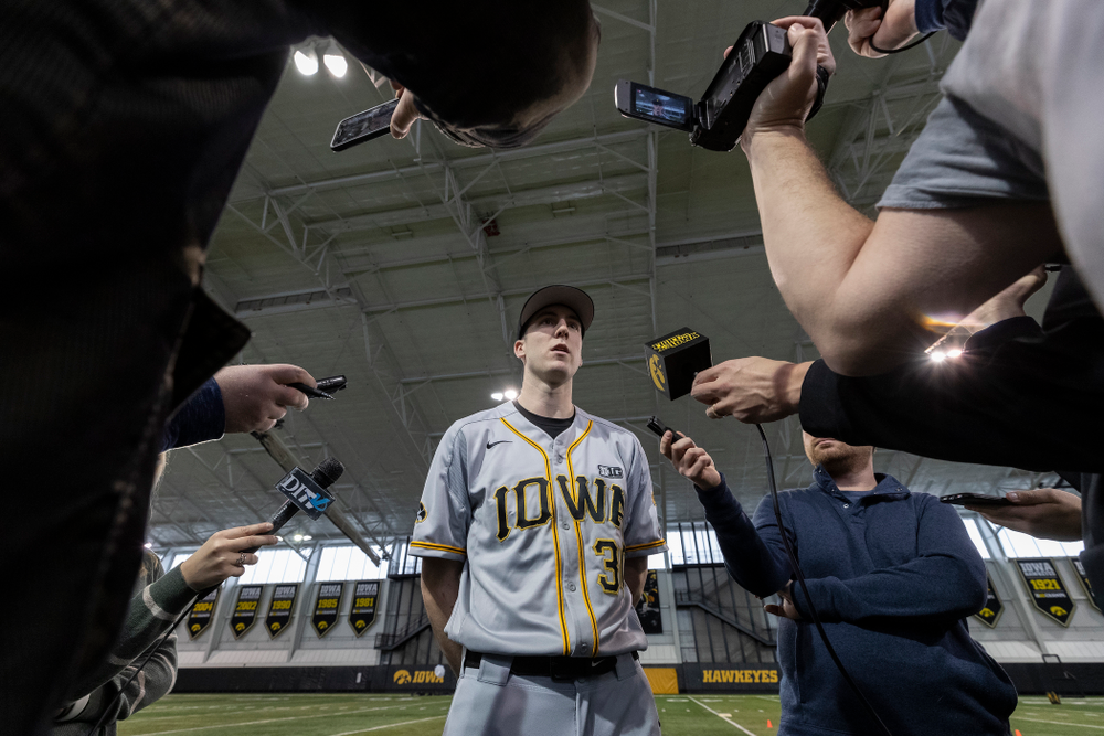 Iowa Hawkeyes Connor McCaffery (30) answers questions from reporters during the team's annual media day Tuesday, February 5, 2019 in the Indoor Practice Facility. (Brian Ray/hawkeyesports.com)