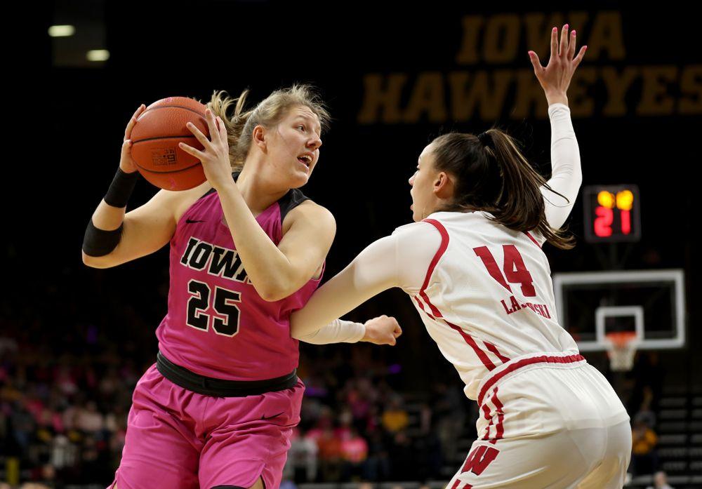 Iowa Hawkeyes forward/center Monika Czinano (25) against the Wisconsin Badgers Sunday, February 16, 2020 at Carver-Hawkeye Arena. (Brian Ray/hawkeyesports.com)