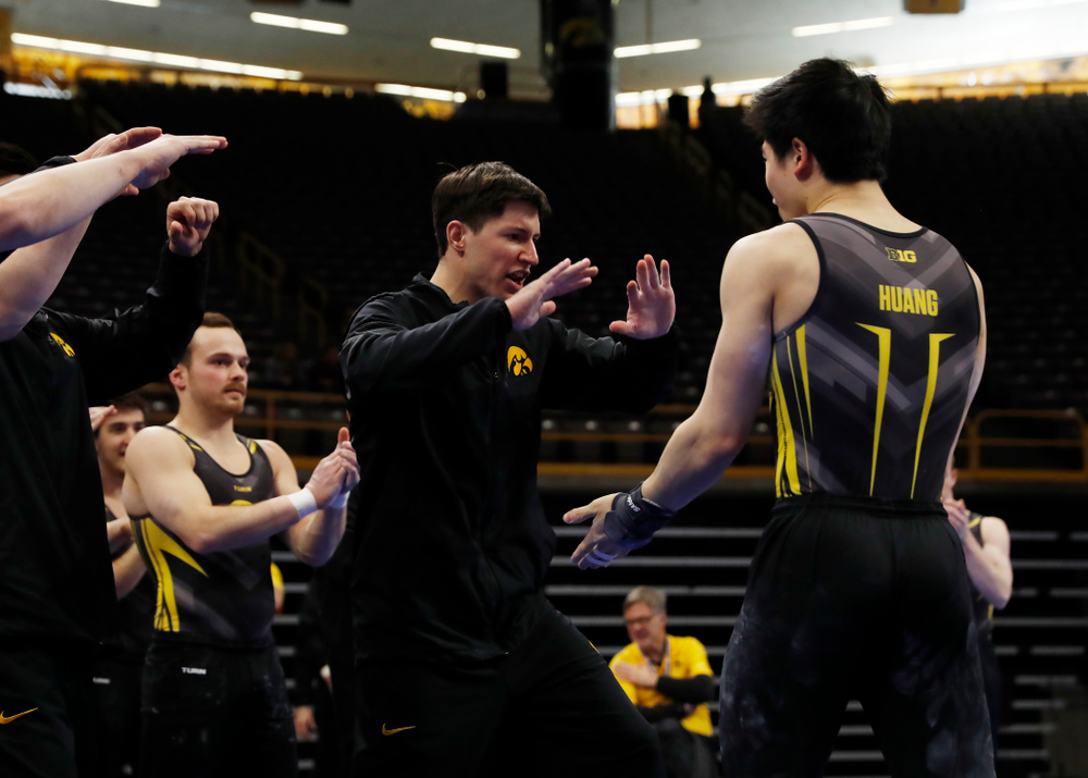 Bennet Huang competes on the pommel horse  against Minnesota and Air Force