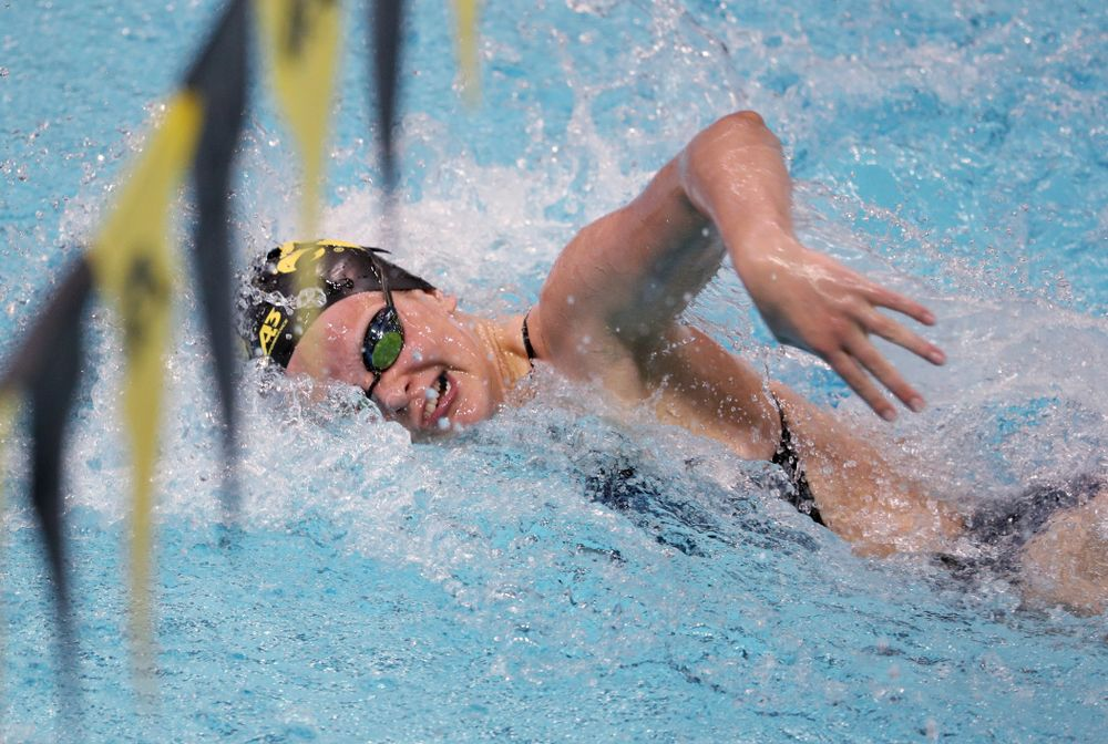 IowaÕs Sarah Schemmel swims the freestyle leg of the 200 Medley Relay against Notre Dame and Illinois Saturday, January 11, 2020 at the Campus Recreation and Wellness Center.  (Brian Ray/hawkeyesports.com)