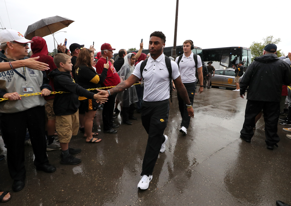 Iowa Hawkeyes defensive back Geno Stone (9) arrives for their game against the Iowa State Cyclones Saturday, September 14, 2019 at Jack Trice Stadium in Ames, Iowa. (Brian Ray/hawkeyesports.com)
