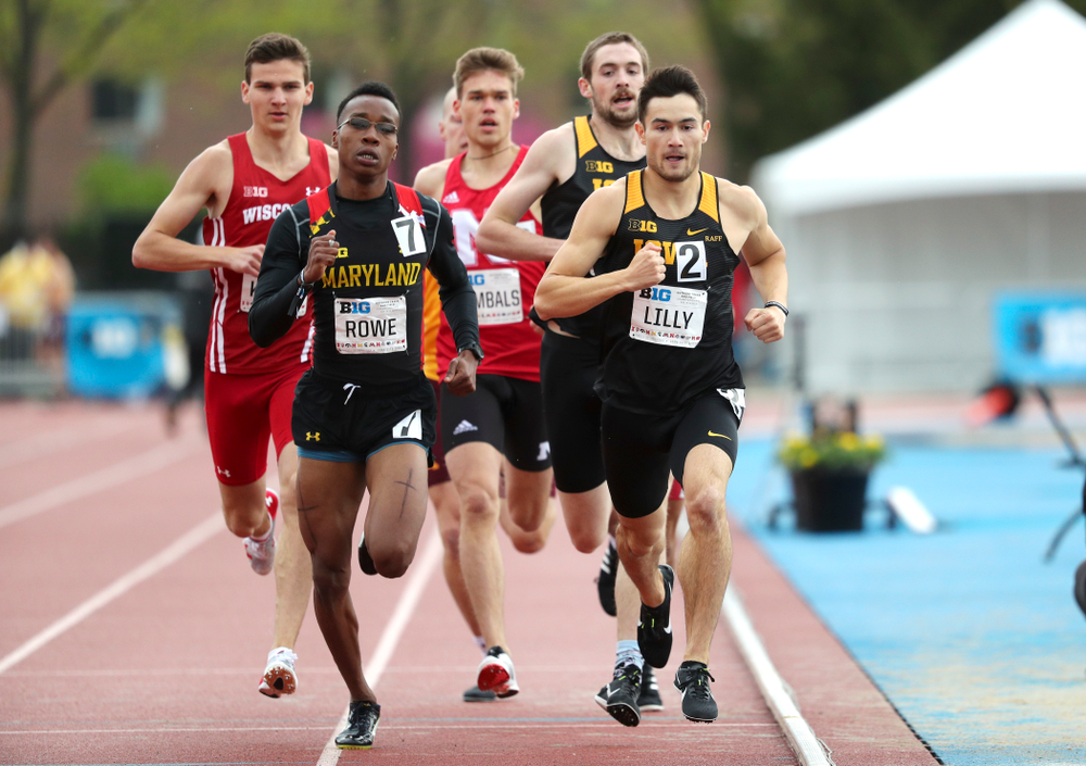 Iowa's Carter Lilly (front) and Nolan Teubel run the men's 800 meter event on the second day of the Big Ten Outdoor Track and Field Championships at Francis X. Cretzmeyer Track in Iowa City on Saturday, May. 11, 2019. (Stephen Mally/hawkeyesports.com)