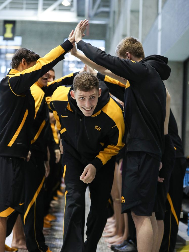 Jack Smith is introduced during senior day before a double dual against Wisconsin and Northwestern Saturday, January 19, 2019 at the Campus Recreation and Wellness Center. (Brian Ray/hawkeyesports.com)