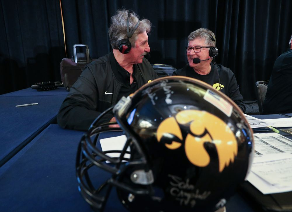 Gary Dolphin and Ed Podolak broadcast live during the Holiday Bowl Hawkeye Huddle Thursday, December 26, 2019 at the Hilton in downtown San Diego. (Brian Ray/hawkeyesports.com)