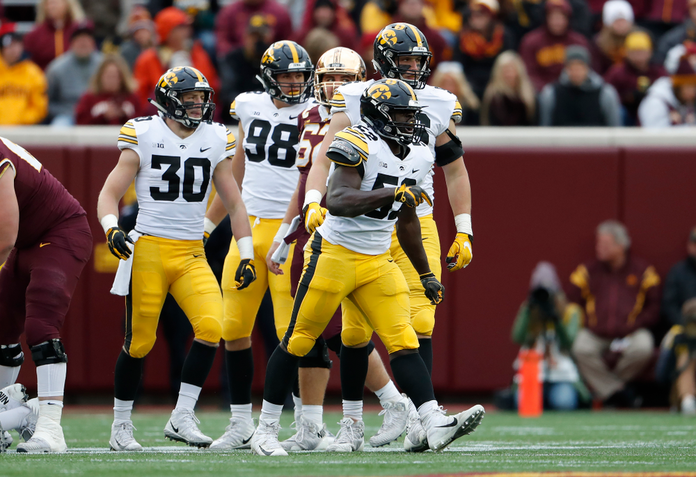 Iowa Hawkeyes linebacker Amani Jones (52) against the Minnesota Golden Gophers Saturday, October 6, 2018 at TCF Bank Stadium. (Brian Ray/hawkeyesports.com)