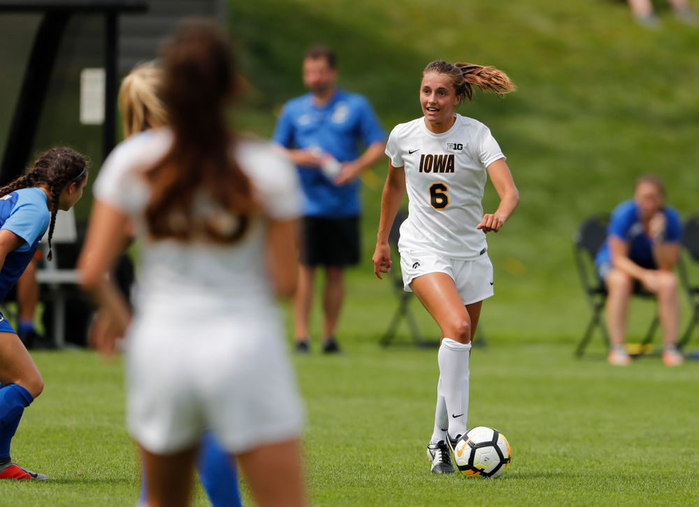 Iowa Hawkeyes Isabella Blackman (6) against the Creighton Bluejays  Sunday, August 19, 2018 at the Iowa Soccer Complex. (Brian Ray/hawkeyesports.com)
