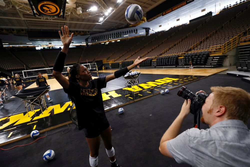 Iowa Hawkeyes outside hitter Taylor Louis (16) during the team's annual media day Friday, August 17, 2018 at Carver-Hawkye Arena. (Brian Ray/hawkeyesports.com)
