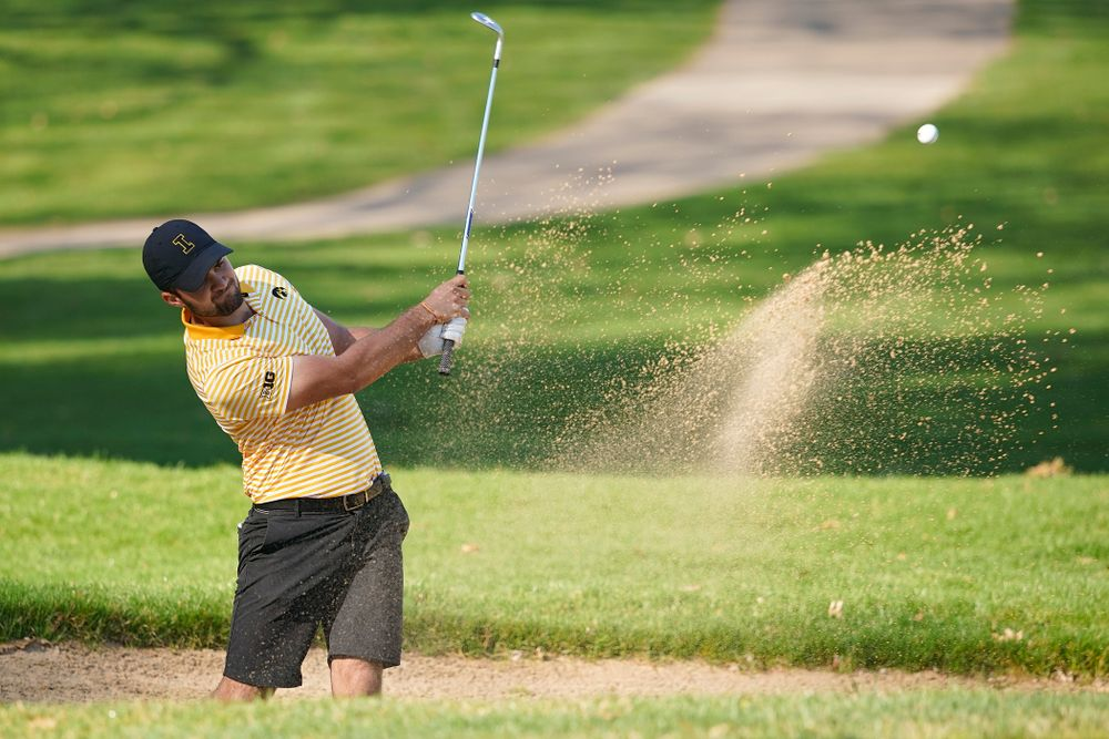Iowa's Gonzalo Leal hits from the sand during the third round of the Hawkeye Invitational at Finkbine Golf Course in Iowa City on Sunday, Apr. 21, 2019. (Stephen Mally/hawkeyesports.com)