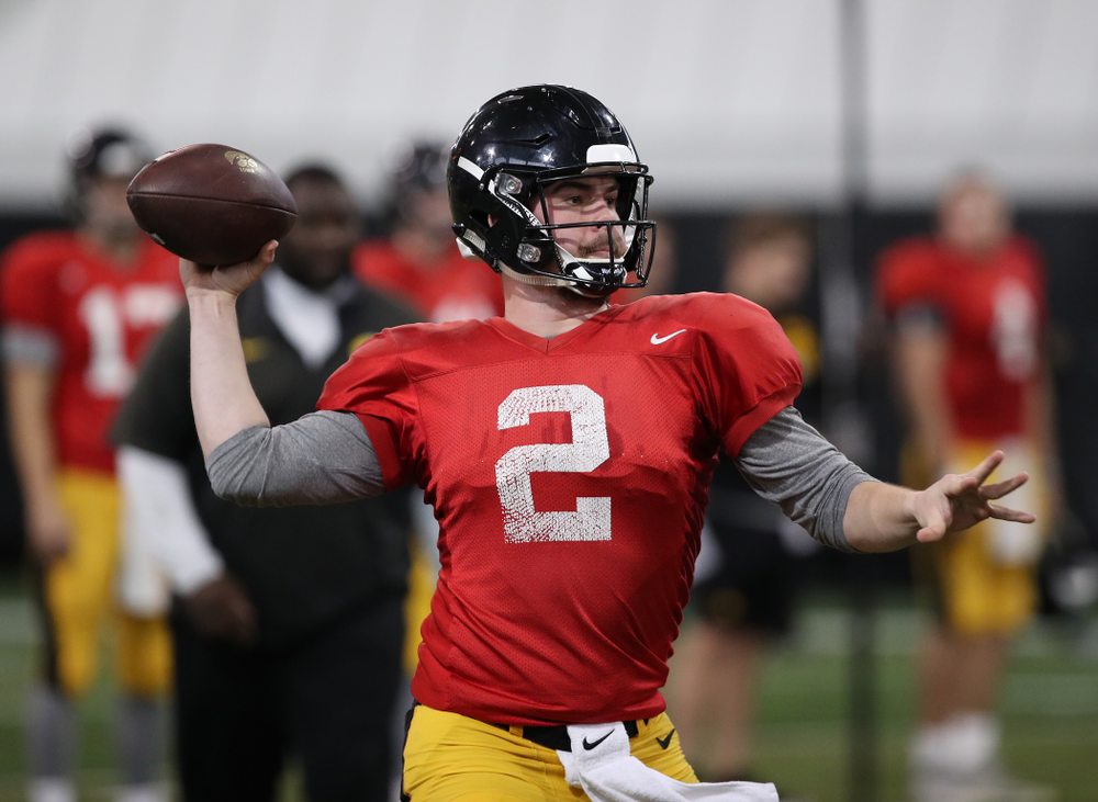 Iowa Hawkeyes quarterback Peyton Mansell (2) during preparation for the 2019 Outback Bowl Wednesday, December 19, 2018 at the Hansen Football Performance Center. (Brian Ray/hawkeyesports.com)