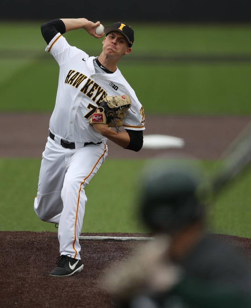 Iowa Hawkeyes Grant Judkins (7) against Michigan State Sunday, May 12, 2019 at Duane Banks Field. (Brian Ray/hawkeyesports.com)