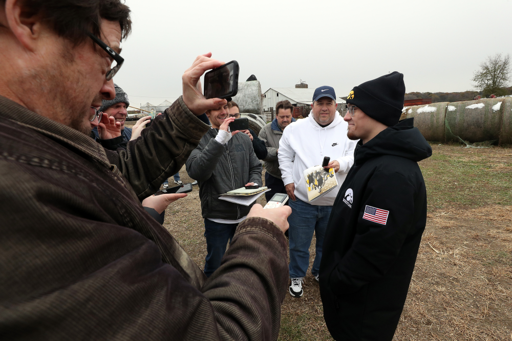 National Champion Spencer Lee answers questions from reporters during the teamÕs annual media day Wednesday, October 30, 2019 at Kroul Family Farms in Mount Vernon. (Brian Ray/hawkeyesports.com)