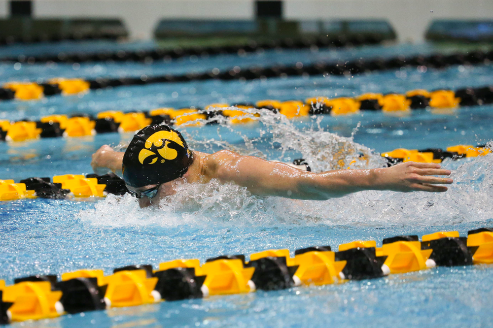 Iowa's Michael Tenney at the 200-yard butterfly race Saturday, March 2, 2019 at the Campus Recreation and Wellness Center. (Lily Smith/hawkeyesports.com)