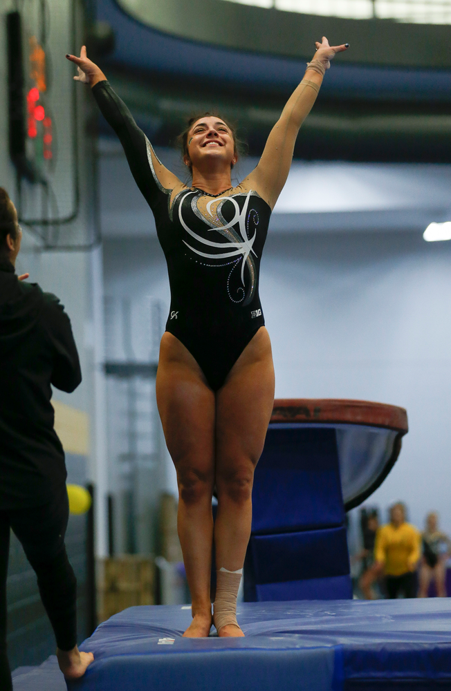 Nikki Youd reacts after competing on the vault during the Black and Gold Intrasquad meet at the Field House on 12/2/17. (Tork Mason/hawkeyesports.com)