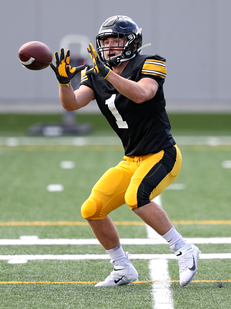 Iowa Hawkeyes running back Nolan Donald (1) pulls in a pass during Fall Camp Practice No. 11 at the Hansen Football Performance Center in Iowa City on Wednesday, Aug 14, 2019. (Stephen Mally/hawkeyesports.com)