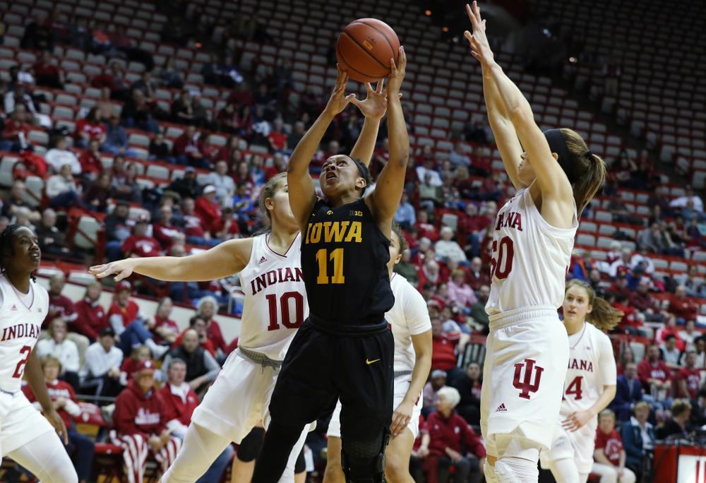 Iowa Hawkeyes guard Tania Davis (11) against the Indiana Hoosiers Thursday, February 21, 2019 at Simon Skjodt Assembly Hall. (Brian Ray/hawkeyesports.com)