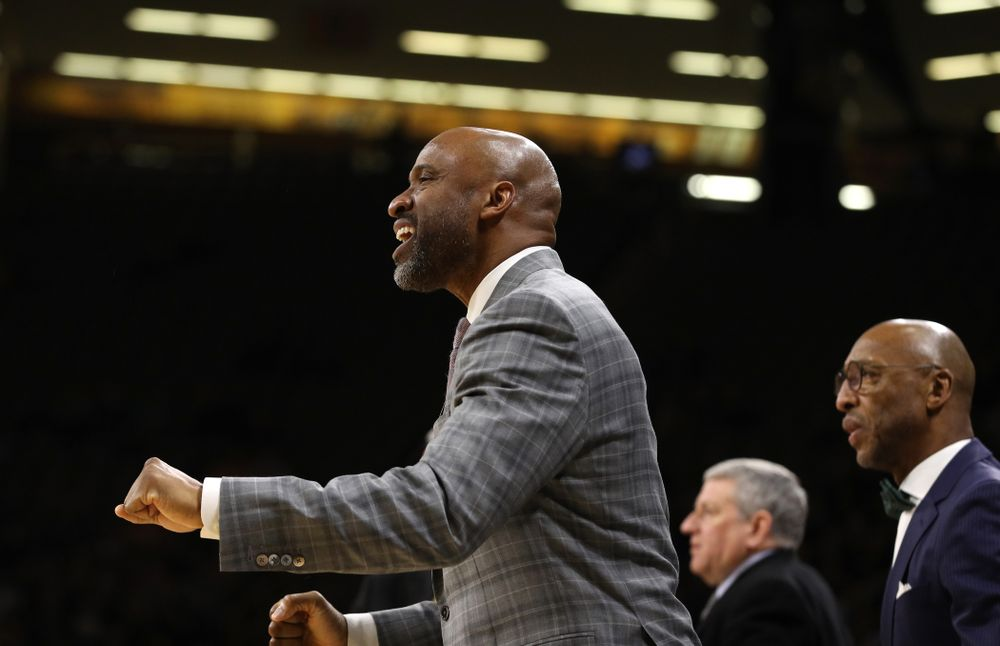 Iowa Hawkeyes assistant coach Andrew Francis against the Northwestern Wildcats Sunday, February 10, 2019 at Carver-Hawkeye Arena. (Brian Ray/hawkeyesports.com)