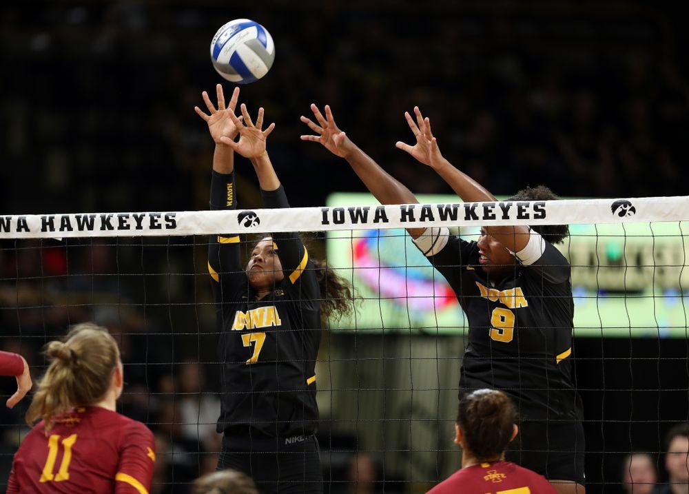 Iowa Hawkeyes setter Brie Orr (7) and middle blocker Amiya Jones (9) against the Iowa State Cyclones Saturday, September 21, 2019 at Carver-Hawkeye Arena. (Brian Ray/hawkeyesports.com)