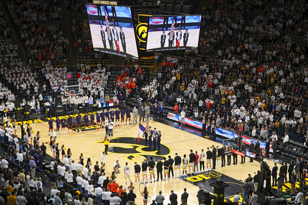 The National Anthem is performed before the game at Carver-Hawkeye Arena in Iowa City on Sunday, February 2, 2020. (Stephen Mally/hawkeyesports.com)