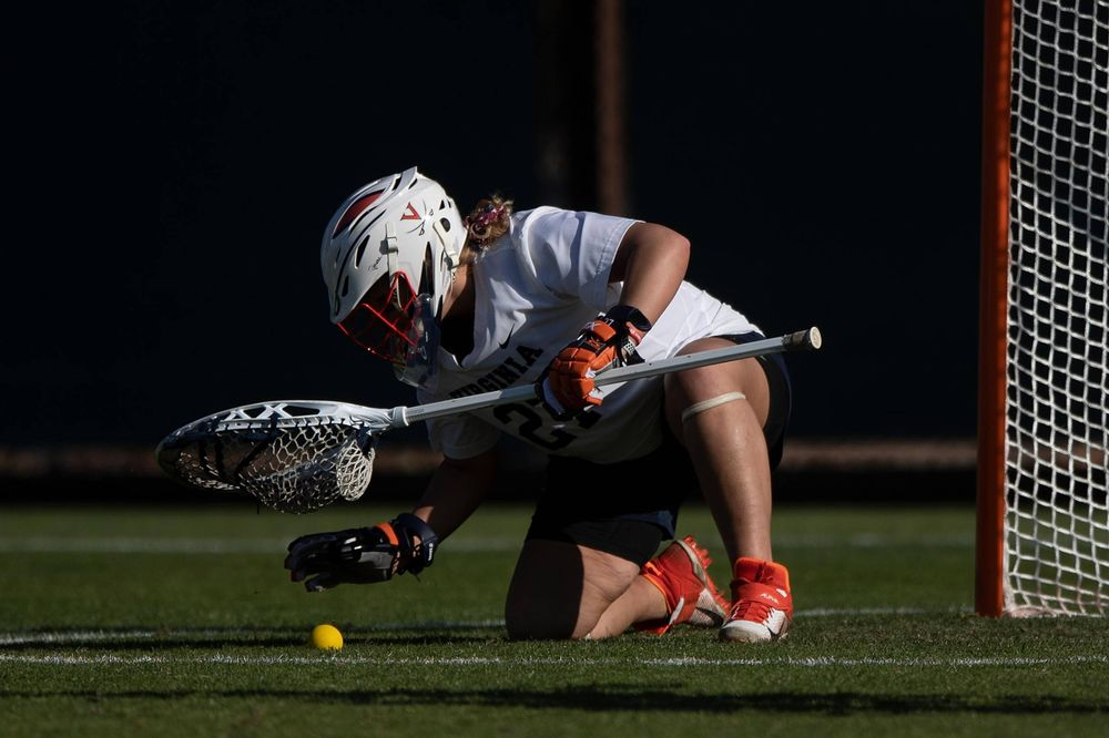 STANFORD, California - FEBRUARY 14:  Virginia Cavaliers goalkeeper Charlie Campbell (27) after a save against the Stanford Cardinal during the first half at Cagan Stadium on February 14, 2020 in Stanford, California. The Virginia Cavaliers defeated the Stanford Cardinal 12-11. (Photo by Jason O. Watson)