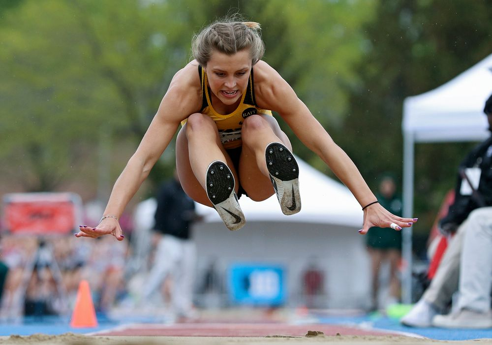 Iowa's Hannah Schilb in the women's triple jump event on the third day of the Big Ten Outdoor Track and Field Championships at Francis X. Cretzmeyer Track in Iowa City on Sunday, May. 12, 2019. (Stephen Mally/hawkeyesports.com)
