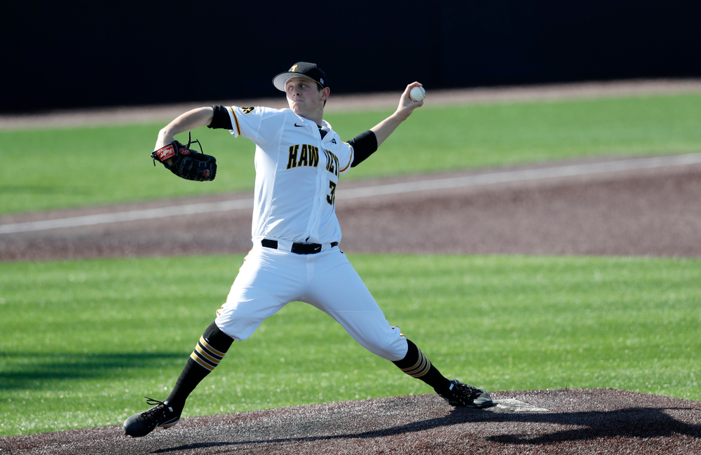 Iowa Hawkeyes pitcher Trenton Wallace (38) against Northern Illinois Tuesday, April 17, 2018 at Duane Banks Field. (Brian Ray/hawkeyesports.com)
