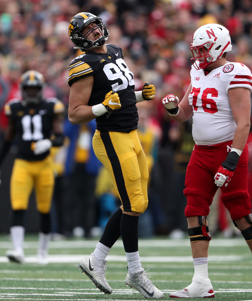 Iowa Hawkeyes defensive end Anthony Nelson (98) celebrates a sack against the Nebraska Cornhuskers Friday, November 23, 2018 at Kinnick Stadium. (Brian Ray/hawkeyesports.com)