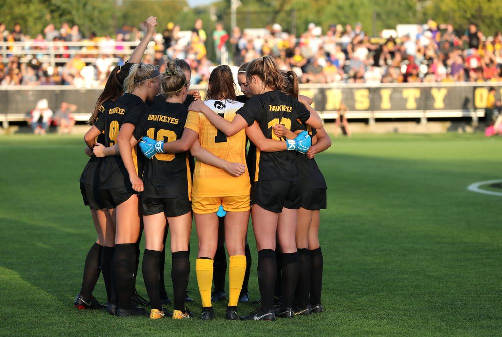 The Iowa Hawkeyes before their  2-1 victory over the Iowa State Cyclones Thursday, August 29, 2019 in the Iowa Corn Cy-Hawk series at the Iowa Soccer Complex. (Brian Ray/hawkeyesports.com)
