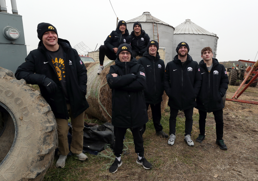 All Americans Jacob Warner, Spencer Lee, Michael Kemerer, Pat Lugo, Alex Marinelli, Austin DeSanto, and Kaleb Young pose for a photo during the teamÕs annual media day Wednesday, October 30, 2019 at Kroul Family Farms in Mount Vernon. (Brian Ray/hawkeyesports.com)